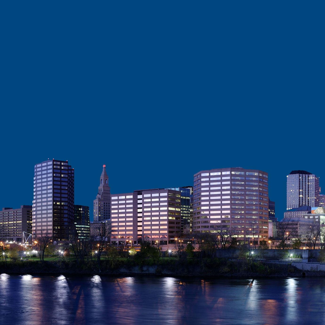 Hartford CT Skyline at Night